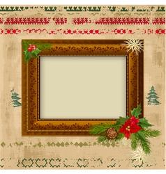 decorative christmas frame design vector image