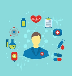 doctor with flat medical icons for web design - vector image