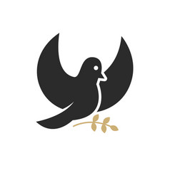 dove with olive branch religious symbol vector image