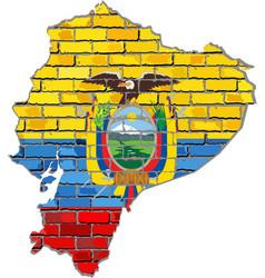Ecuador map on a brick wall vector