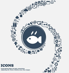 Fish dish Icon in the center Around the many vector image