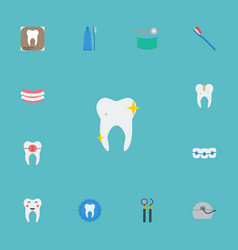 Flat icons brace cleaned decay and other vector