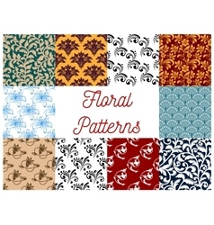 Floral decorative patterns set vector image