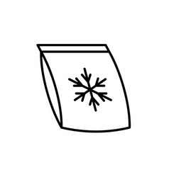 frozen food bag icon plastic bag with snowflake vector image