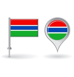 Gambian pin icon and map pointer flag vector