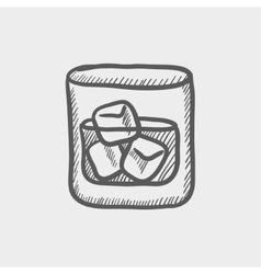 Glass of water with ice sketch icon vector