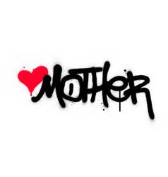 Graffiti mother word sprayed in black over white vector