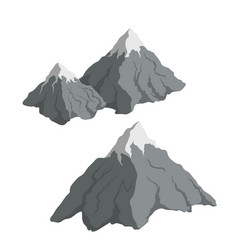 gray mountains in cartoon style isometric view vector image