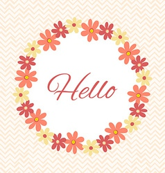Greeting card template with floral wreath vector