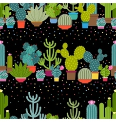 Horizontal patterns of cactus in flat style vector