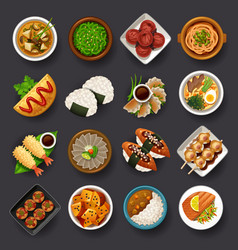 Japanese food icon set vector