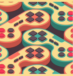 Joystick retro seamless pattern gampad game vector