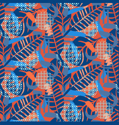 Jungle pattern red and blue abstract textured vector