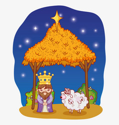 King wearing crown with sheep and manger with vector