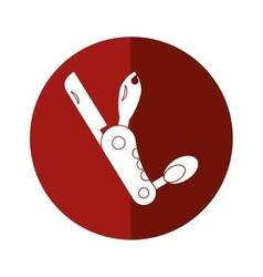 knife multi-tool army camping button shadow vector image