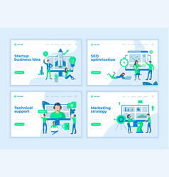 Landing page templates concept with cartoon office vector