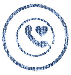 Love phone rounded fabric textured icon vector