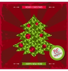Merry Christmas background in hipster style vector image