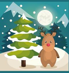 merry christmas reindeer character vector image