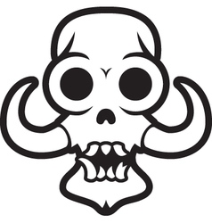 Monster skull with large tusks vector