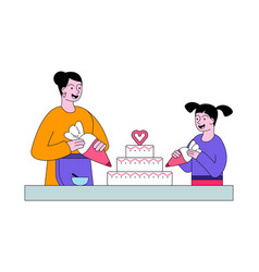 mother and daughter cooking birthday cake vector image
