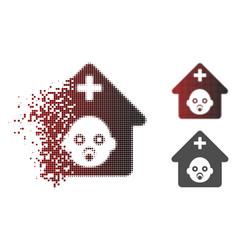 Moving pixel halftone prenatal hospital icon vector