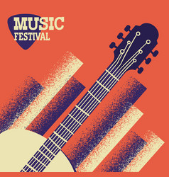 Music concert background with acoustic guitar vector