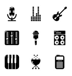 music player icons set simple style vector image