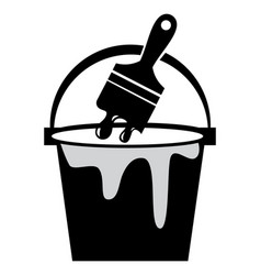 paint bucket and brush icon vector image