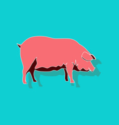 Paper sticker on stylish background pig vector
