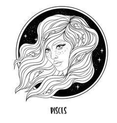 Pisces astrological sign vector