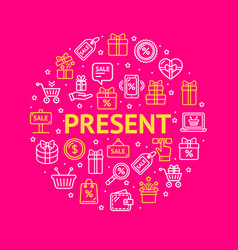 present signs round design template thin line icon vector image
