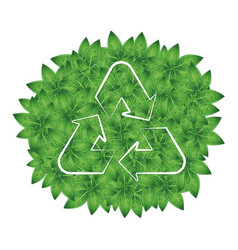 Recycling symbol on a background of green leaves vector