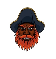 Red bearded cartoon pirate captain vector image