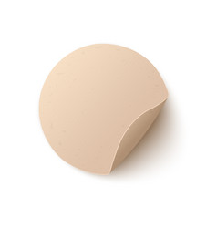 round blank paper sticker with peel off corner in vector image
