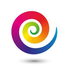 Round icon spiral symbol of flexible twirl center vector