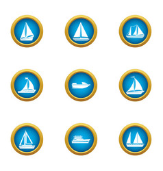 Sailing vessel icons set flat style vector