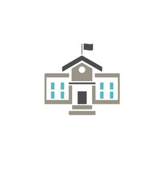 school building icon with color on white vector image