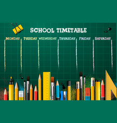 school timetable template for students or pupils vector image