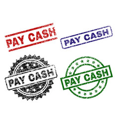 scratched textured pay cash seal stamps vector image