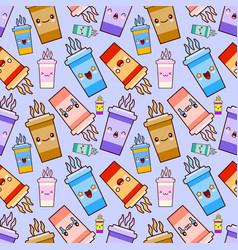 seamless pattern coffee kawaii characters vector image