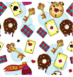 Seamless pattern set icons donut card vector