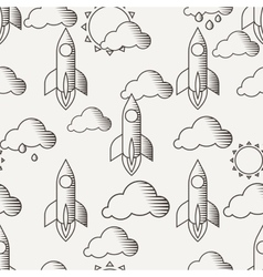 seamless pattern with rockets clouds and vector image