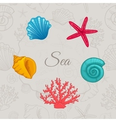 set colorful seashells with seamless pattern vector image