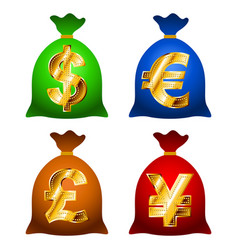 Set currency sack dollar usd eur gbp jpy gold sign vector