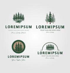 Set evergreen pine tree logo vintage with vector