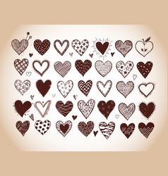 set hand drawn doodle sketch hearts in vintage vector image