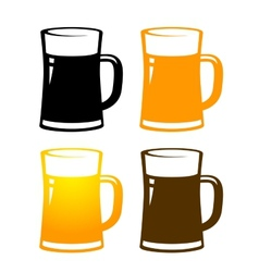 Set of colorful beer mugs vector