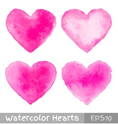 Set of Colorful Watercolor Pink Hearts vector