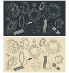 set sketches various gears vector image